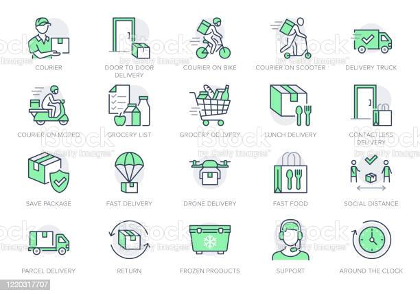 음식 배달 라인 아이콘입니다 벡터 일러스트는 빠른 배포를위한 자전거 문 비접촉식 배달 식료품 목록 개요 그림에 Coutier로 아이콘을 포함했다 녹색 색상 편집 가능한 스트로크 0명에 대한 스톡 벡터 아트 및 기타 이미지