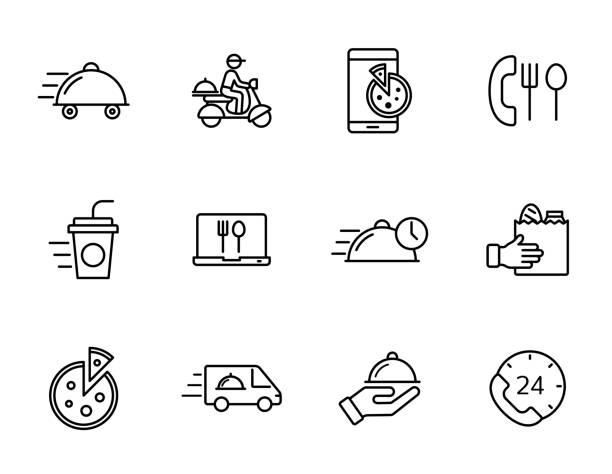 ilustrações de stock, clip art, desenhos animados e ícones de food delivery linear vector icons isolated on white background. food delivery outline icon set for web, mobile apps, ui design. food business concept - covid restaurant