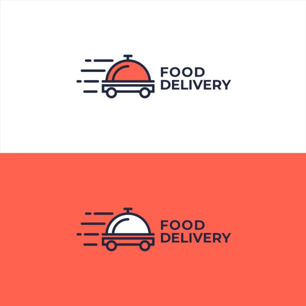 food delivery logo concept. fast restaurant or cafe food delivery. - food delivery stock illustrations