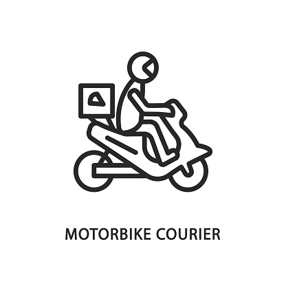 Food delivery motorbike flat line icon. Vector illustration motorcycle courier with safety helmet
