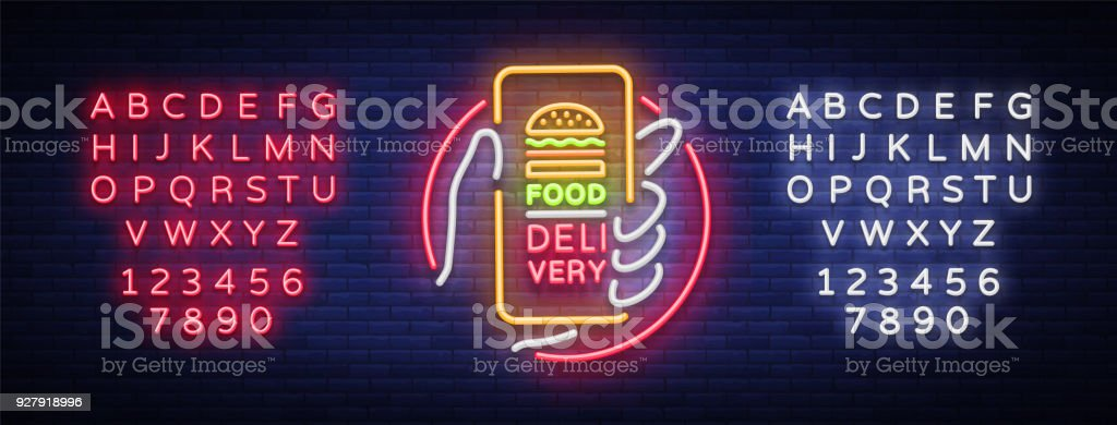 Food Delivery neon sign. Smartphone in hands, ordering food through smartphone, symbol in neon style, light banner, bright night advertising food delivery. Vector illustration. Editing text neon sign vector art illustration