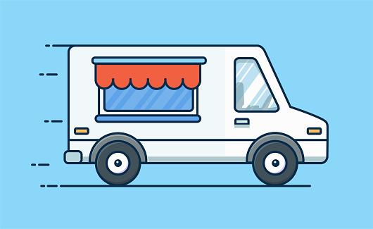 음식 배달 합니다 피크닉 자동차입니다 음식 트럭입니다 음식 밴입니다 벡터 평면 그림 거리에 대한 스톡 벡터 아트 및 기타 이미지