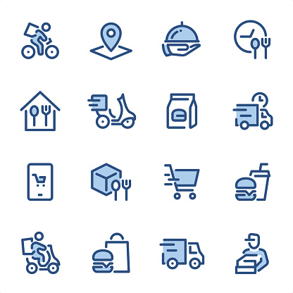 Food Delivery - Pixel Perfect blue line icons