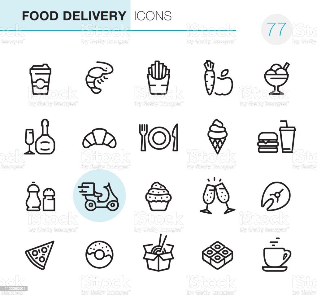 Food Delivery - Pixel Perfect icons - Royalty-free Alimentação Saudável arte vetorial