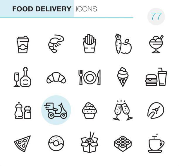 Food Delivery - Pixel Perfect icons 20 Outline Style - Black line - Pixel Perfect icons / Set #77 Icons are designed in 48x48pх square, outline stroke 2px.  First row of outline icons contains:  Take away Coffee Paper Cup, Shrimp - Seafood, French Fries, Carrot and Apple (Healthy Food), Ice Cream;  Second row contains:  Champagne Bottle and Glass, Croissant, Crockery, Ice Cream Cone, Hamburger & Soda (Fast Food);  Third row contains:  Salt & Pepper Shaker, Food Delivery, Cupcake, Champagne Flute, Salmon Steak;   Fourth row contains:  Pizza, Donut, Chinese Take away Food, Salmon Roll, Coffee Cup.  Complete Primico collection - https://www.istockphoto.com/collaboration/boards/NQPVdXl6m0W6Zy5mWYkSyw fruit symbols stock illustrations