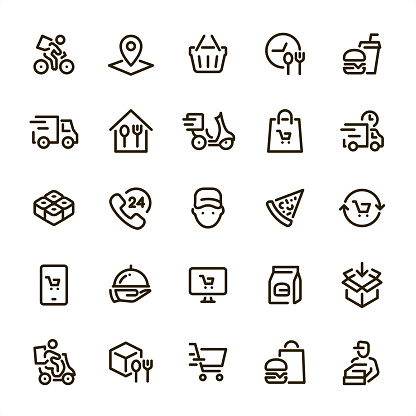 Food Delivery - Pixel Perfect line icons