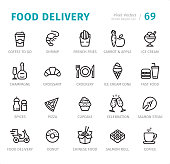 Food Delivery - 20 Outline Style - Single line icons with captions / Set #69 / Designed in 48x48pх square, outline stroke 2px.  First row of outline icons contains:  Coffee to go, Shrimp, French Fries, Carrot & Apple, Ice Cream;  Second row contains:  Champagne, Croissant, Crockery, Ice Cream Cone, Fast Food;  Third row contains:  Spices, Pizza, Cupcake, Celebration, Salmon Steak;  Fourth row contains: Food Delivery, Donut, Chinese Food, Salmon Roll, Coffee.  Complete Signico collection - https://www.istockphoto.com/collaboration/boards/VT_7sDWo80OLh7foVxchBQ