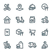 Food Delivery icons set #22 Specification: 16 icons, 36x36 pх, stroke weight 2 px Features: Pixel Perfect, Unicolor, Single line   First row of icons contains: Delivery by bike, Location, Serving Tray, Meal Breaks;  Second row contains: Home Food, Food Delivery by bike, Take Away Food, Fast Delivery;  Third row contains: Ordering Food, Food Packaging, Shopping, Hamburger & Soda (Fast Food);   Fourth row contains: Food Delivery Service, Hamburger & Paper Bag, Delivery Truck, Pizza Delivery Man.  Complete MICO collection - https://www.istockphoto.com/collaboration/boards/UUv7uLop-06yEw9xnOBMNg