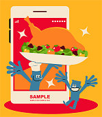 Blue Little Guy Characters Full Length Vector Art Illustration. Food delivery service, blue man chef serving Thanksgiving Day turkey meal on a mobile phone.