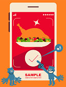Blue Little Guy Characters Full Length Vector Art Illustration. Food delivery service, blue man clicking a button to order a Thanksgiving Day turkey meal on a mobile phone.