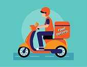 Vector illustration of food delivery by bike via mobile phone. Online delivery service concept.