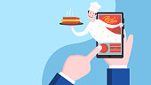 istock Food delivery service, chef serving pizza 1293806276