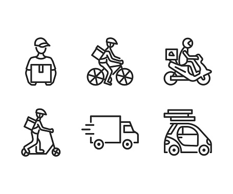 Food delivery service flat line icon set. Vector illustration couriers on different transport, motorbike, car, bicycle and kick scooter. Pizza delivery. Editable strokes
