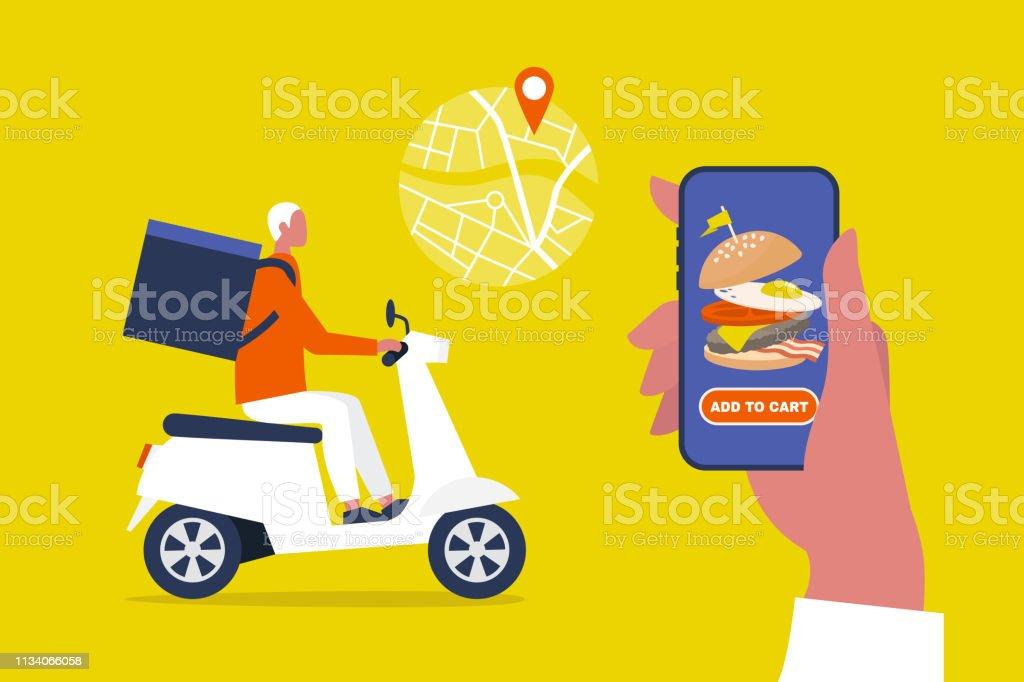 음식 배달 서비스. 모바일 응용 프로그램. 모터 자전거를 타고 큰 배낭과 젊은 남성 택배. 플랫, 편집 가능한 벡터 일러스트, 클립 아트 - 로열티 프리 가방 벡터 아트