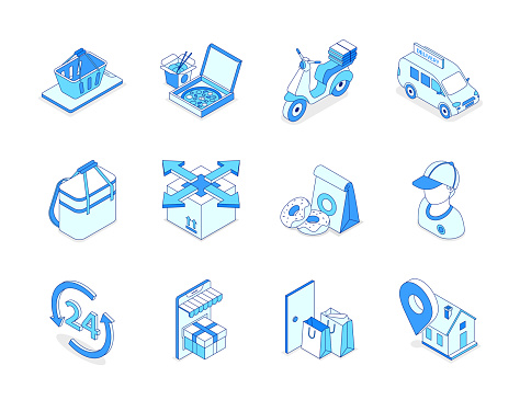 Food delivery service - modern isometric icons set