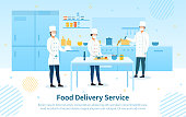 Food Delivery Service showing the chefs preparing the meals in a restaurant kitchen with text during the Covid-19 pandemic, colored vector illustration