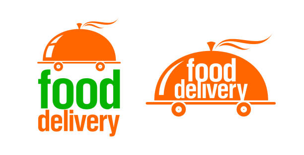 food delivery signs or logos set, cloche on wheels - food delivery stock illustrations