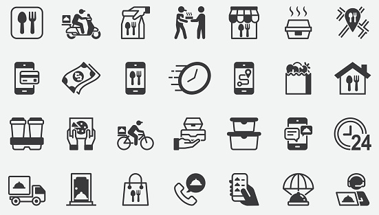 Food Delivery ,Takeaway Home Concept Icons