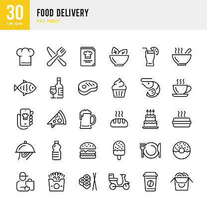 Food Delivery - thin line vector icon set. Pixel perfect. The set contains icons: Food Delivery, Pizza, Burger, Bread, Seafood, Vegetarian Food, Asian Food, Steak, Dessert.