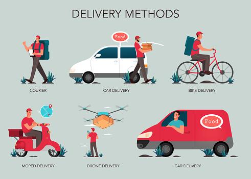 Food delivery web banner set. Online delivery concept.