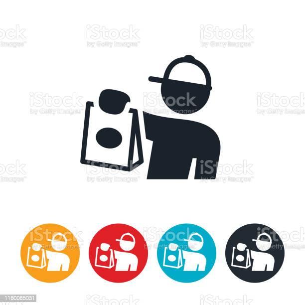 Food Deliveryman Icon - Stockowe grafiki wektorowe i więcej obrazów Dać