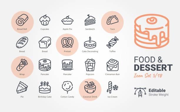 Food & Dessert vector icons Food & Dessert vector icons candy symbols stock illustrations