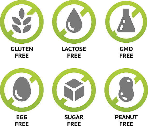 Food Dietary Labels Set of food labels for GMO free, sugar free and allergen free products. EPS 10. CMYK genetic modification stock illustrations