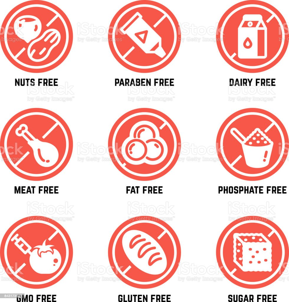 Food dietary symbols. Gmo free, no gluten, sugarless and allergy vector icons set vector art illustration