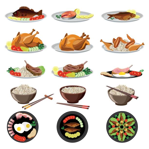 illustrazioni stock, clip art, cartoni animati e icone di tendenza di food dishes set - piatto stoviglie