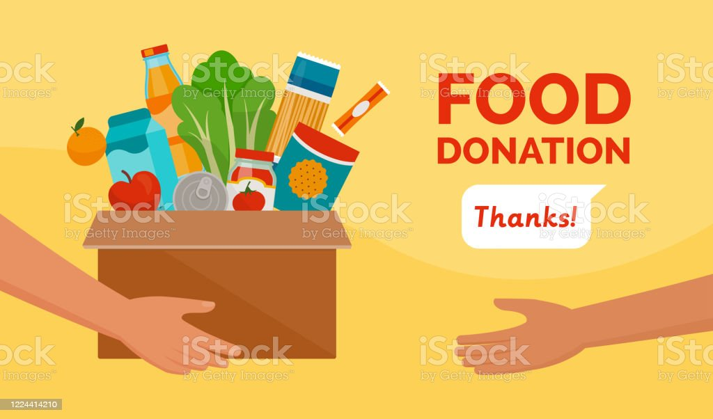 Food donation and charity Volunteer holding a donation box with food, awareness and charity concept A Helping Hand stock vector