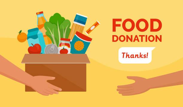 ilustrações de stock, clip art, desenhos animados e ícones de food donation and charity - food