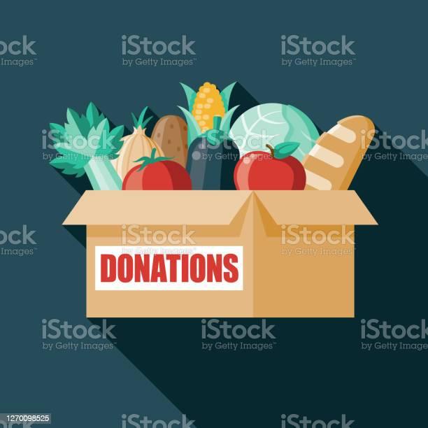 Ilustración de Caja De Donación De Alimentos y más Vectores Libres de Derechos de Alimento