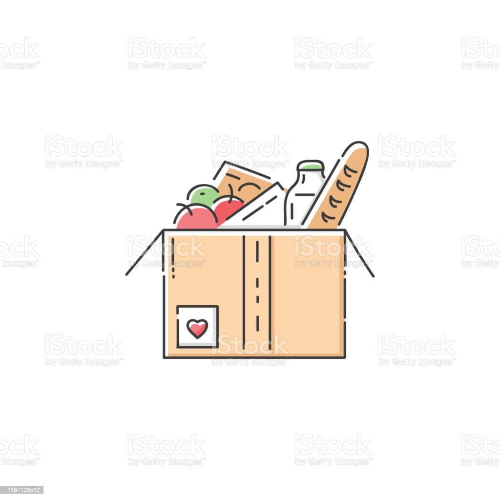 Food donation cardboard box icon Food donation cardboard box icon - charity fundraiser or humanitarian aid organisation  in flat line art style, giving help and volunteer care to homeless and hungry, isolated vector illustration Backgrounds stock vector