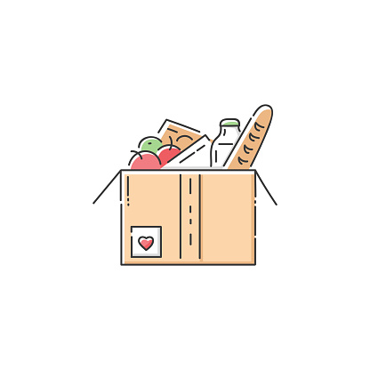 Food donation cardboard box icon - charity fundraiser or humanitarian aid organisation  in flat line art style, giving help and volunteer care to homeless and hungry, isolated vector illustration