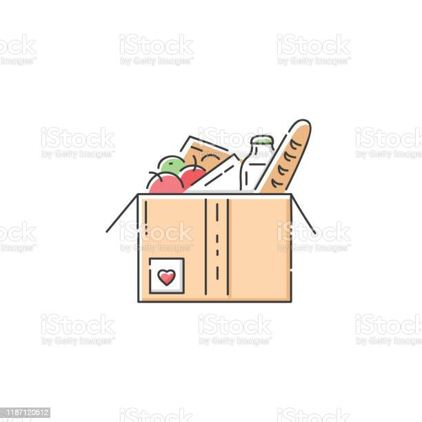 Food Donation Cardboard Box Icon Stock Illustration - Download Image Now