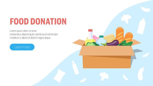lebensmittelspendenkonzept. große kiste mit lebensmittelspende. webbanner, infografiken. - grundnahrungsmittel stock-grafiken, -clipart, -cartoons und -symbole