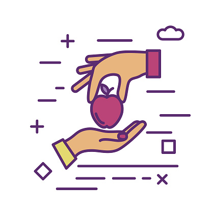 Food Donation Exchange Icon in thin line flat design style for charity and donation concept