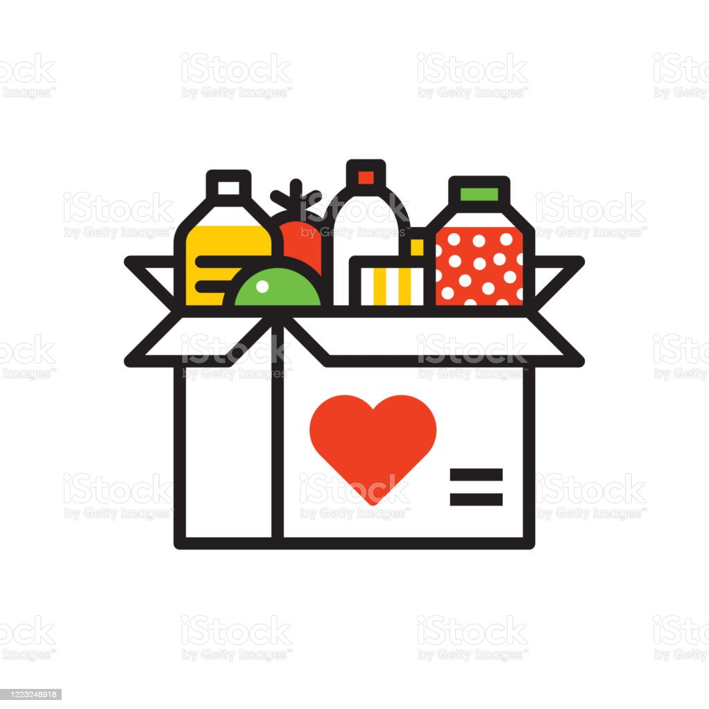 Food donation icon Line vector icon. Vector EPS 10, HD JPEG 4000 x 4000 px Altruism stock vector