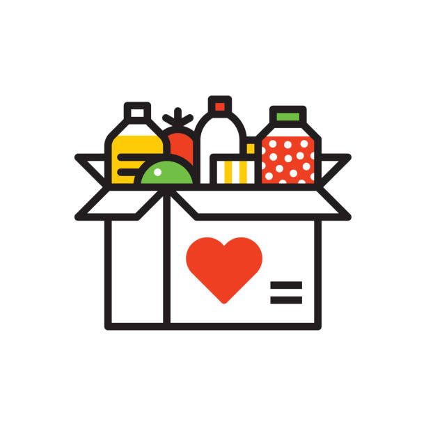 Food donation icon Line vector icon. Vector EPS 10, HD JPEG 4000 x 4000 px food drive stock illustrations