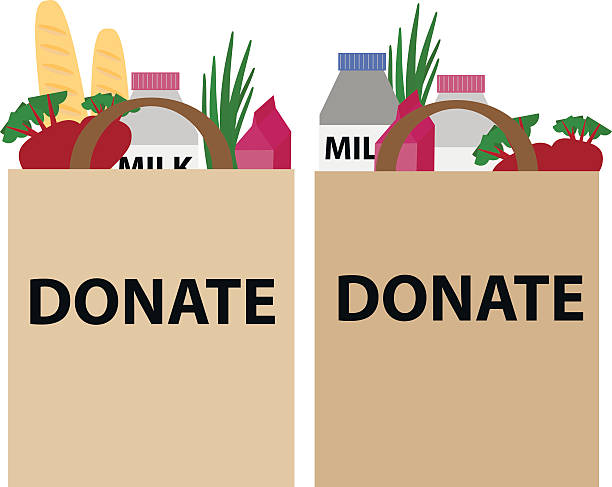 Food donation papper bag Food donation papper bag for homeless people. Vector concept illustrations. food drive stock illustrations