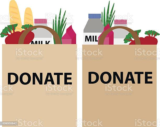 Food Donation Papper Bag Stock Illustration - Download Image Now