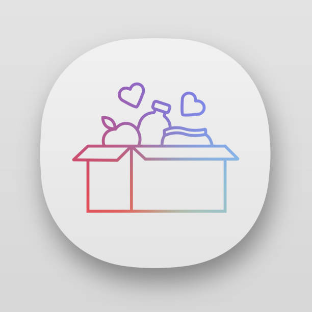 ilustrações de stock, clip art, desenhos animados e ícones de food donations app icon. charity food collection. box with meal, hearts. humanitarian assistance. volunteer activity. i/ux user interface. web or mobile applications. vector isolated illustrations - coração fraco