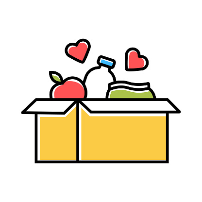 Food donations color icon. Charity food collection. Box with meal, hearts. Humanitarian assistance. Volunteer activity. Helping people in need. Hunger support program. Isolated vector illustration clipart