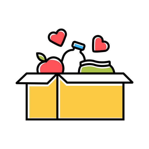 illustrazioni stock, clip art, cartoni animati e icone di tendenza di food donations color icon. charity food collection. box with meal, hearts. humanitarian assistance. volunteer activity. helping people in need. hunger support program. isolated vector illustration - food