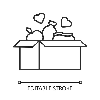 Food donations linear icon. Charity food collection. Box with meal, hearts. Humanitarian volunteer activity. Thin line illustration. Contour symbol. Vector isolated outline drawing. Editable stroke