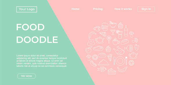 Food doodle background landing page template with pop punchy pastel colors, vector illustration with hand drawn foods and drink doodles
