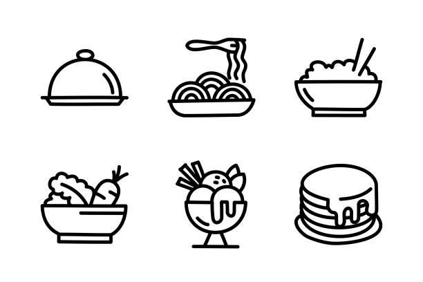Food Doodle Drawing Food Doodle Drawing. bowl of ice cream stock illustrations