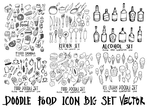 Food doodle illustration wallpaper background line sketch style set on chalkboard eps10 clipart