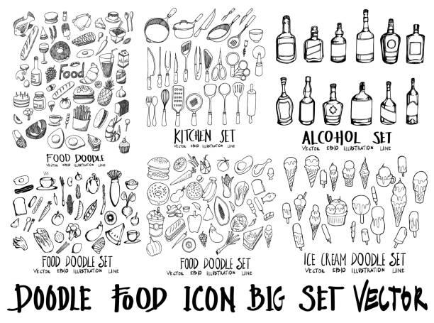 ilustrações de stock, clip art, desenhos animados e ícones de food doodle illustration wallpaper background line sketch style set on chalkboard eps10 - food