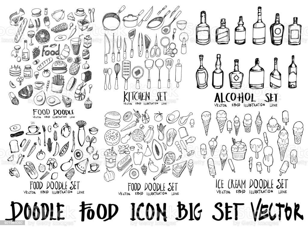 Alimentos doodle ilustración wallpaper fondo dibujo estilo de línea en pizarra eps10 - ilustración de arte vectorial